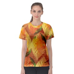 Fall Colors Leaves Pattern Women s Sport Mesh Tee by DanaeStudio