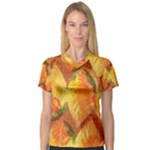 Fall Colors Leaves Pattern Women s V-Neck Sport Mesh Tee