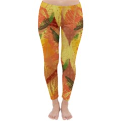 Fall Colors Leaves Pattern Winter Leggings  by DanaeStudio