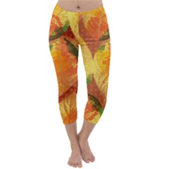 Fall Colors Leaves Pattern Capri Winter Leggings  by DanaeStudio