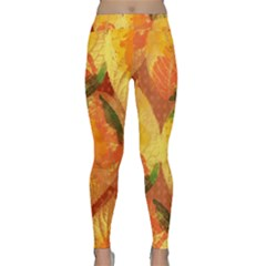 Fall Colors Leaves Pattern Yoga Leggings  by DanaeStudio