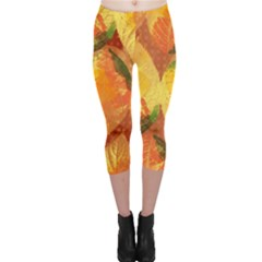 Fall Colors Leaves Pattern Capri Leggings  by DanaeStudio
