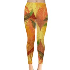 Fall Colors Leaves Pattern Leggings  by DanaeStudio