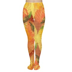 Fall Colors Leaves Pattern Tights by DanaeStudio