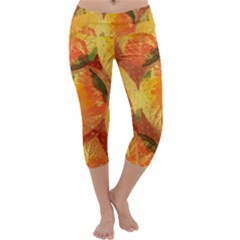 Fall Colors Leaves Pattern Capri Yoga Leggings by DanaeStudio