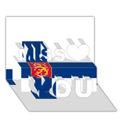 State Flag Of Finland  Miss You 3d Greeting Card (7x5) by abbeyz71