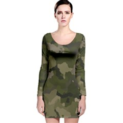 Huntress Camouflage Long Sleeve Velvet Bodycon Dress by TRENDYcouture