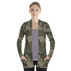 Huntress Camouflage Women s Open Front Pockets Cardigan(p194) by TRENDYcouture
