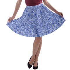Blue And White A Line Skater Skirt by olgart
