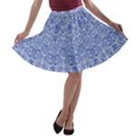 Blue and white A-line Skater Skirt