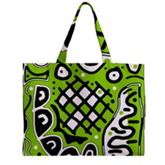 Green High Art Abstraction Zipper Mini Tote Bag by Valentinaart
