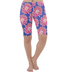Pink Daisy Pattern Cropped Leggings  by DanaeStudio