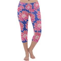 Pink Daisy Pattern Capri Yoga Leggings by DanaeStudio