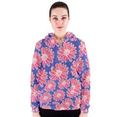 Pink Daisy Pattern Women s Zipper Hoodie by DanaeStudio
