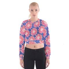 Pink Daisy Pattern Women s Cropped Sweatshirt by DanaeStudio