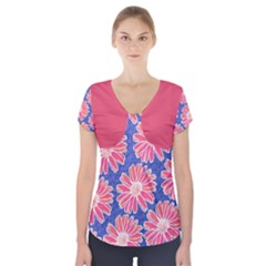 Pink Daisy Pattern Short Sleeve Front Detail Top by DanaeStudio