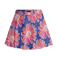 Pink Daisy Pattern Mini Flare Skirt by DanaeStudio