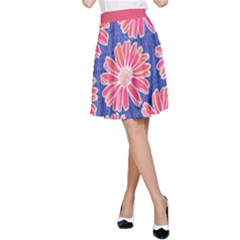 Pink Daisy Pattern A Line Skirt by DanaeStudio