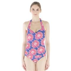 Pink Daisy Pattern Halter Swimsuit by DanaeStudio