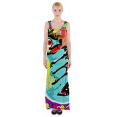 Abstract animal Maxi Thigh Split Dress by Valentinaart