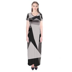Simple Gray Abstraction Short Sleeve Maxi Dress by Valentinaart