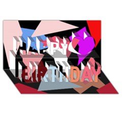 Colorful Geometrical Design Happy Birthday 3d Greeting Card (8x4) by Valentinaart