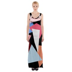 Colorful geometrical design Maxi Thigh Split Dress by Valentinaart