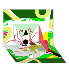 Green Abstract Artwork Love Bottom 3d Greeting Card (7x5) by Valentinaart