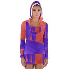Purple And Orange Landscape Women s Long Sleeve Hooded T Shirt by Valentinaart