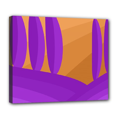 Orange And Purple Landscape Deluxe Canvas 24  X 20   by Valentinaart