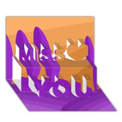 Orange And Purple Landscape Miss You 3d Greeting Card (7x5) by Valentinaart