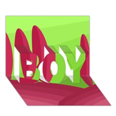 Green And Red Landscape Boy 3d Greeting Card (7x5) by Valentinaart