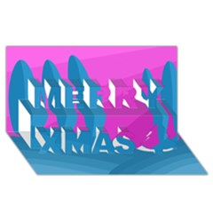 Pink And Blue Landscape Merry Xmas 3d Greeting Card (8x4) by Valentinaart