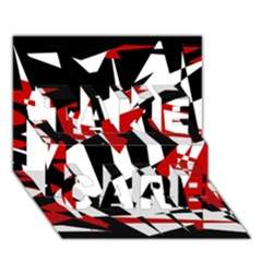 Red, Black And White Chaos Take Care 3d Greeting Card (7x5) by Valentinaart