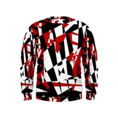 Red, black and white chaos Kids  Sweatshirt by Valentinaart