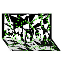 Black, White And Green Chaos #1 Dad 3d Greeting Card (8x4) by Valentinaart