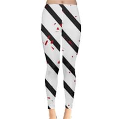 Elegant Black, Red And White Lines Leggings  by Valentinaart