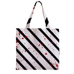 Elegant Black, Red And White Lines Zipper Grocery Tote Bag by Valentinaart