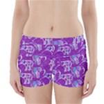 Cute Violet Elephants Pattern Boyleg Bikini Wrap Bottoms