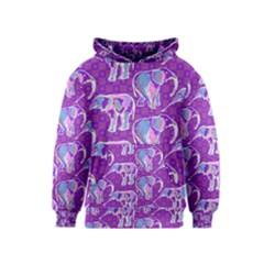 Cute Violet Elephants Pattern Kids  Pullover Hoodie by DanaeStudio