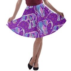 Cute Violet Elephants Pattern A Line Skater Skirt by DanaeStudio