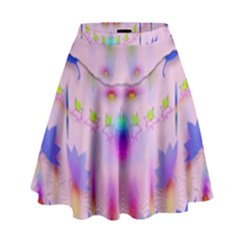 Rainbows And Leaf In The Moonshine High Waist Skirt by pepitasart