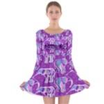 Cute Violet Elephants Pattern Long Sleeve Skater Dress
