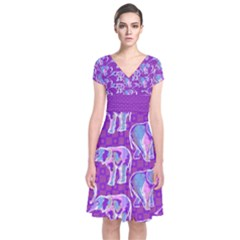 Cute Violet Elephants Pattern Short Sleeve Front Wrap Dress by DanaeStudio