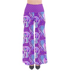 Cute Violet Elephants Pattern Women s Chic Palazzo Pants  by DanaeStudio