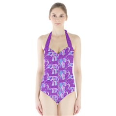 Cute Violet Elephants Pattern Halter Swimsuit by DanaeStudio