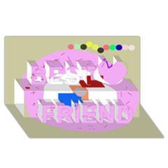 Decorative Abstract Circle Best Friends 3d Greeting Card (8x4) by Valentinaart