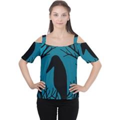 Halloween raven - Blue Women s Cutout Shoulder Tee by Valentinaart