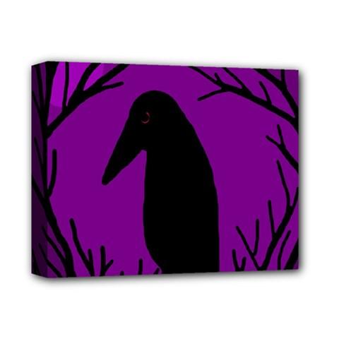 Halloween Raven   Purple Deluxe Canvas 14  X 11  by Valentinaart