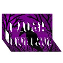 Halloween Raven   Purple Laugh Live Love 3d Greeting Card (8x4) by Valentinaart